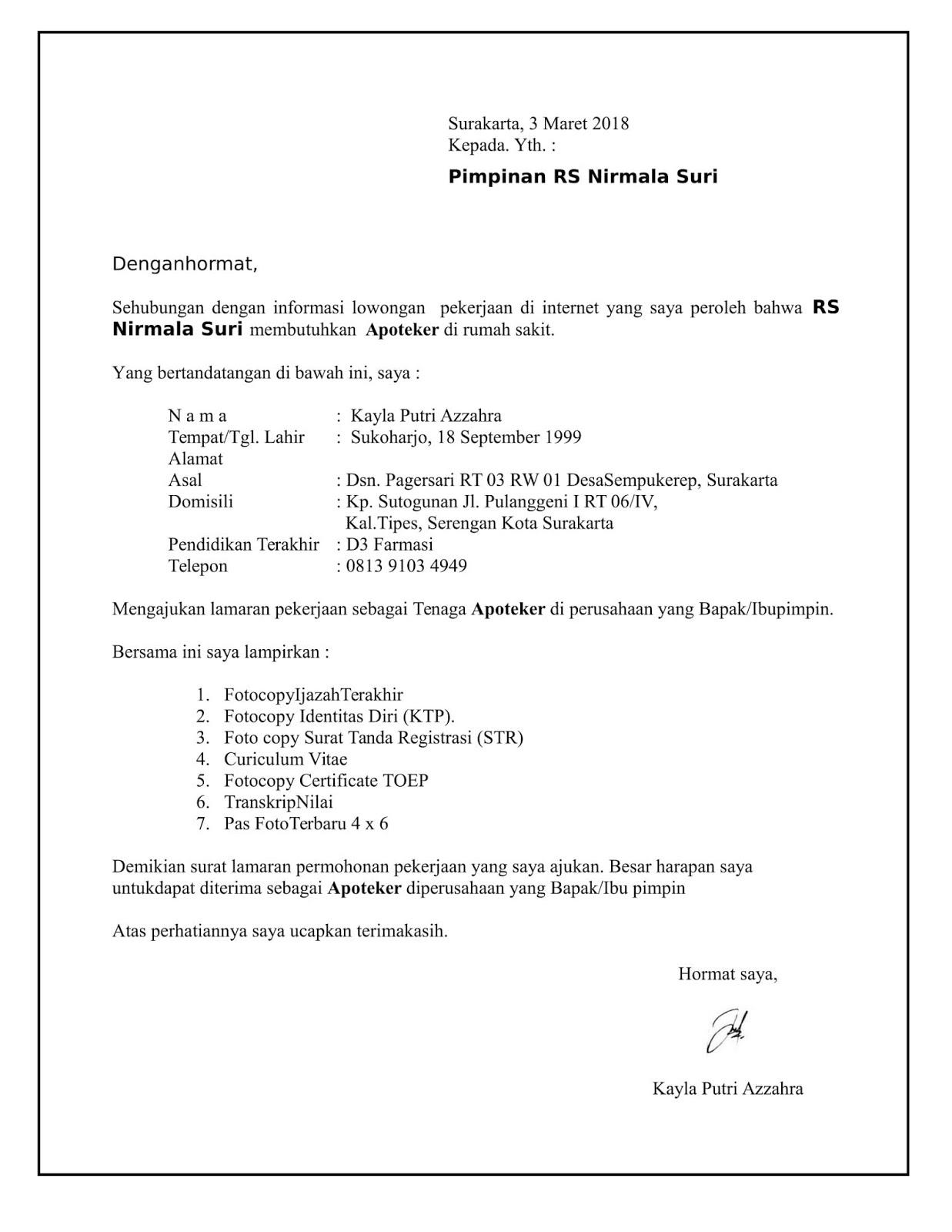 Contoh surat lamaran kerja apoteker untuk rumah sakit.
