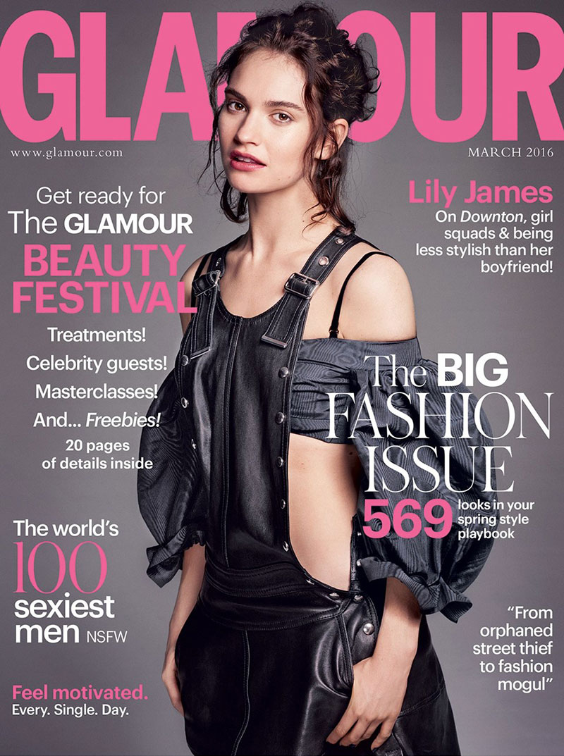 Lily James covers Glamour UK in leather overalls
