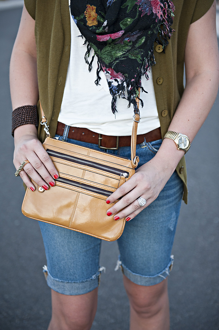 Mustard Purse, Brown Belt