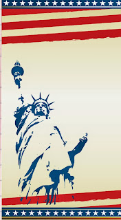 Statue of Liberty on a patriotic background