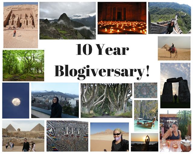 10 Year Blogiversary Collage for I have the wanders