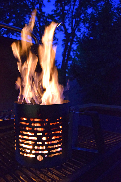 Charcoals flaming using Char-Broil Half -Time Chimney Starter