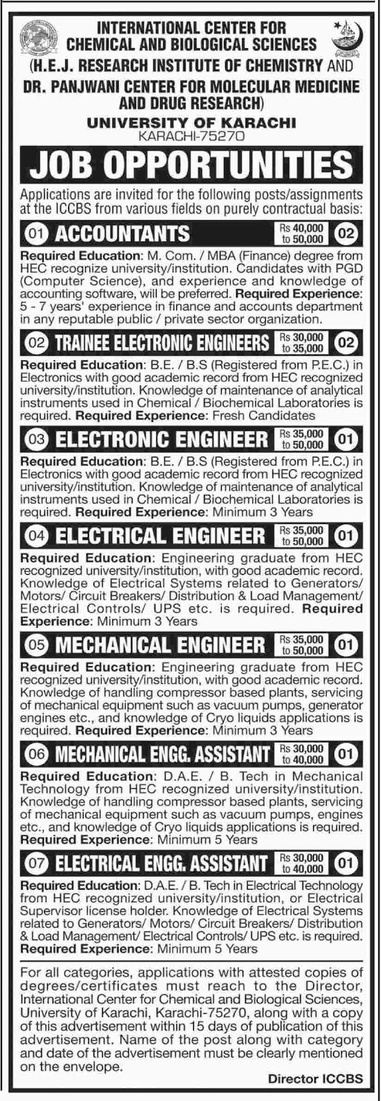 Jobs In University Of Karachi April 2018 for Electrical Engineer, Mechanical Engineer