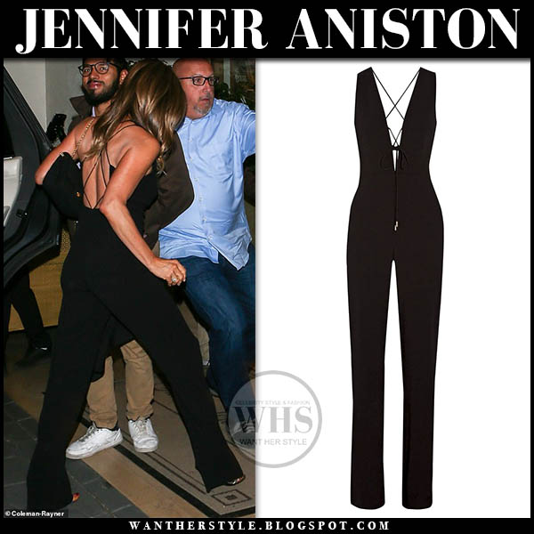 Jennifer Aniston wears black strappy open back jumpsuit cucshnie et ochs 50th birthday party outfit