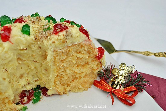 Moist Pineapple Holiday Cake ~ This is one of the Christmas Cakes which you just have to try ! Moist, soft, double Pineapple and an amazing Pudding Cream Pineapple Frosting