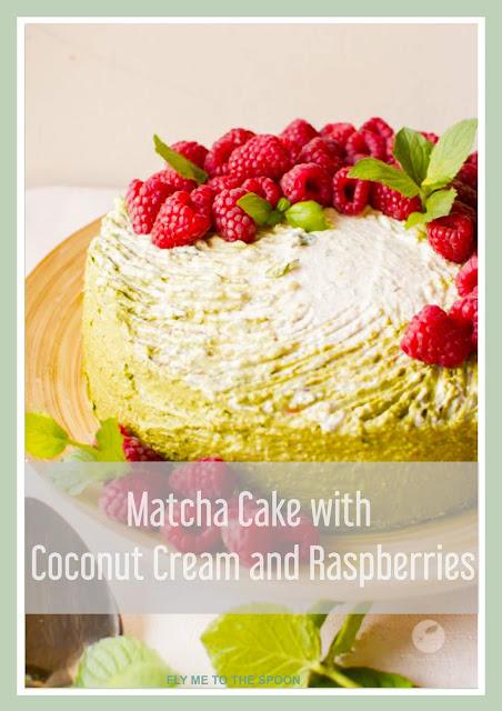 Matcha Cake Winter Wonderland with Coconut Cream and Raspberry