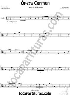 Viola Partitura de Ópera Carmen de Georges Bizet  Sheet Music for Viola Music Score