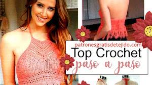 Top crochet con flecos / Paso a paso