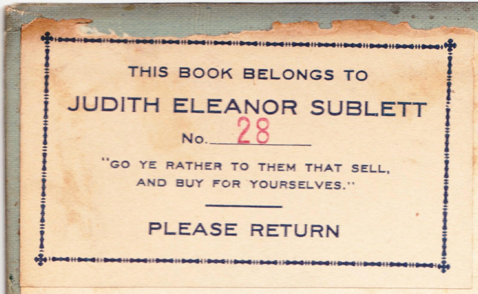 judith eleanor subletts bookplate