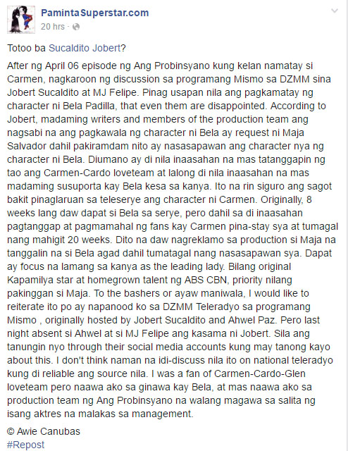 Did Maja Salvador ask the management to kill Bela Padilla's character off from Ang Probinsyano?