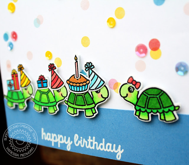 Sunny Studio Stamps: Turtley Awesome Happy Turtle Birthday Card by Vanessa Menhorn