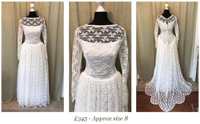 1950s lace wedding dress, illusion neckline, original, vintage 1950s lace wedding dress, size 8, available at vintage lane bridal boutique in bolton , manchester, lancashire