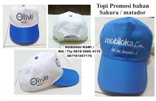 Topi Promosi bahan Sakura, Topi Matador, TOPI PROMOSI MURAH, topi Pilkada, Topi partai