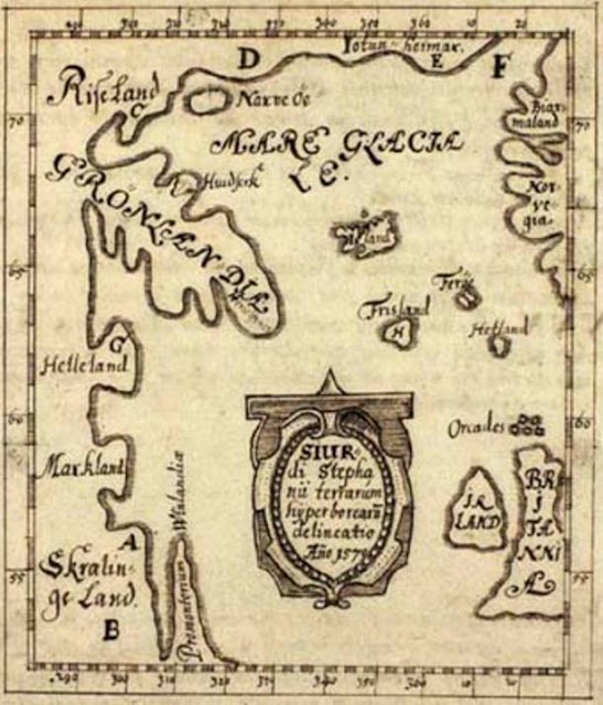 El Mapa Skálholt realizado en el año 1570. Helleland ('Piedra Tierra' = isla de Baffin), Markland ('tierras forestales' = Labrador), Skrælinge tierra ('tierra de los extranjeros' = Labrador), Promontorium Vinlandiæ (el de Vinland = Terranova)
