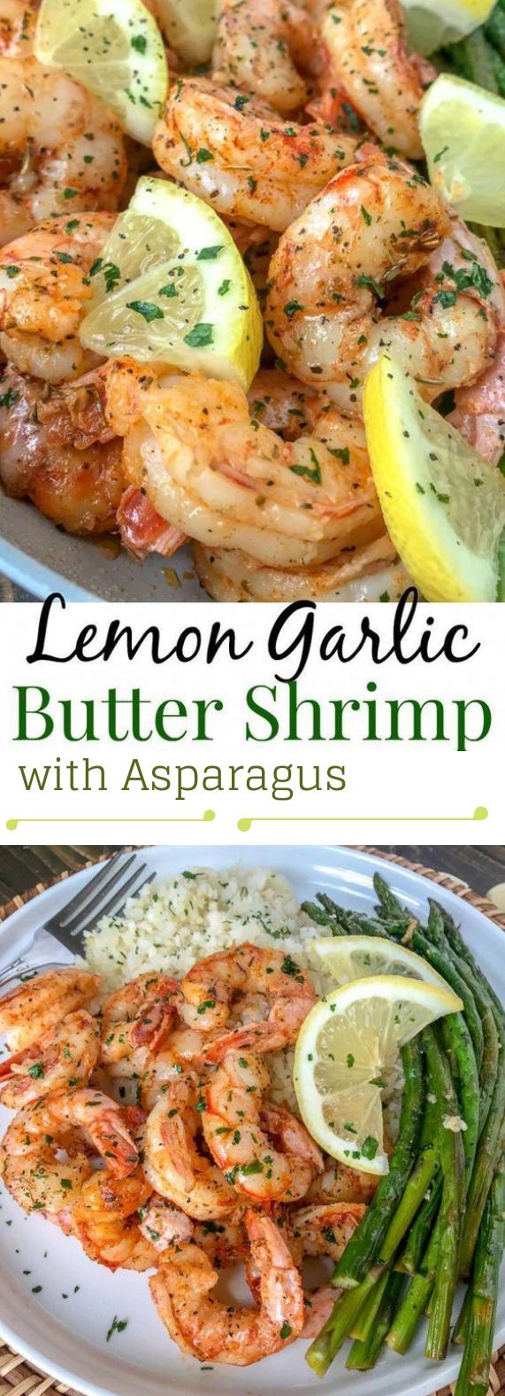 Lemon Garlic Butter Shrimp with Asparagus #healthyeat #dinner