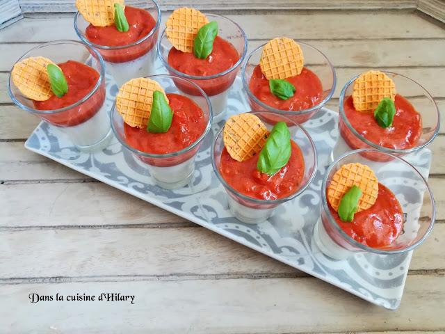 Panna cotta à la mozzarella, compotée tomates poivron et basilic - Dans la cuisine d'Hilary
