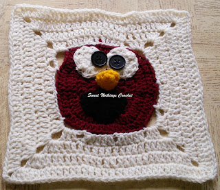 free crochet pattern, free crochet granny square pattern, free crochet mitered square pattern, free crochet Sesame street pattern, free crochet Elmo pattern, free crochet Elmo granny square pattern, free crochet Elmo motif, Oswal Cashmilon, Pradhan Stores, Project Chemo Crochet,