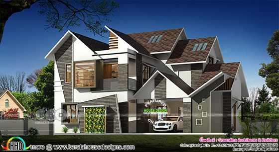 3333 square feet modern sloping roof house