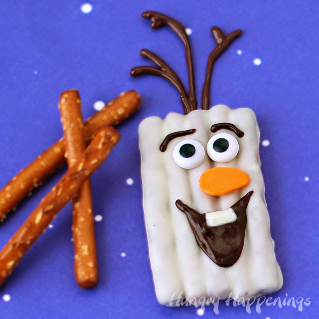 Chocolate Olaf Pretzel Craft by Hungry Happenings