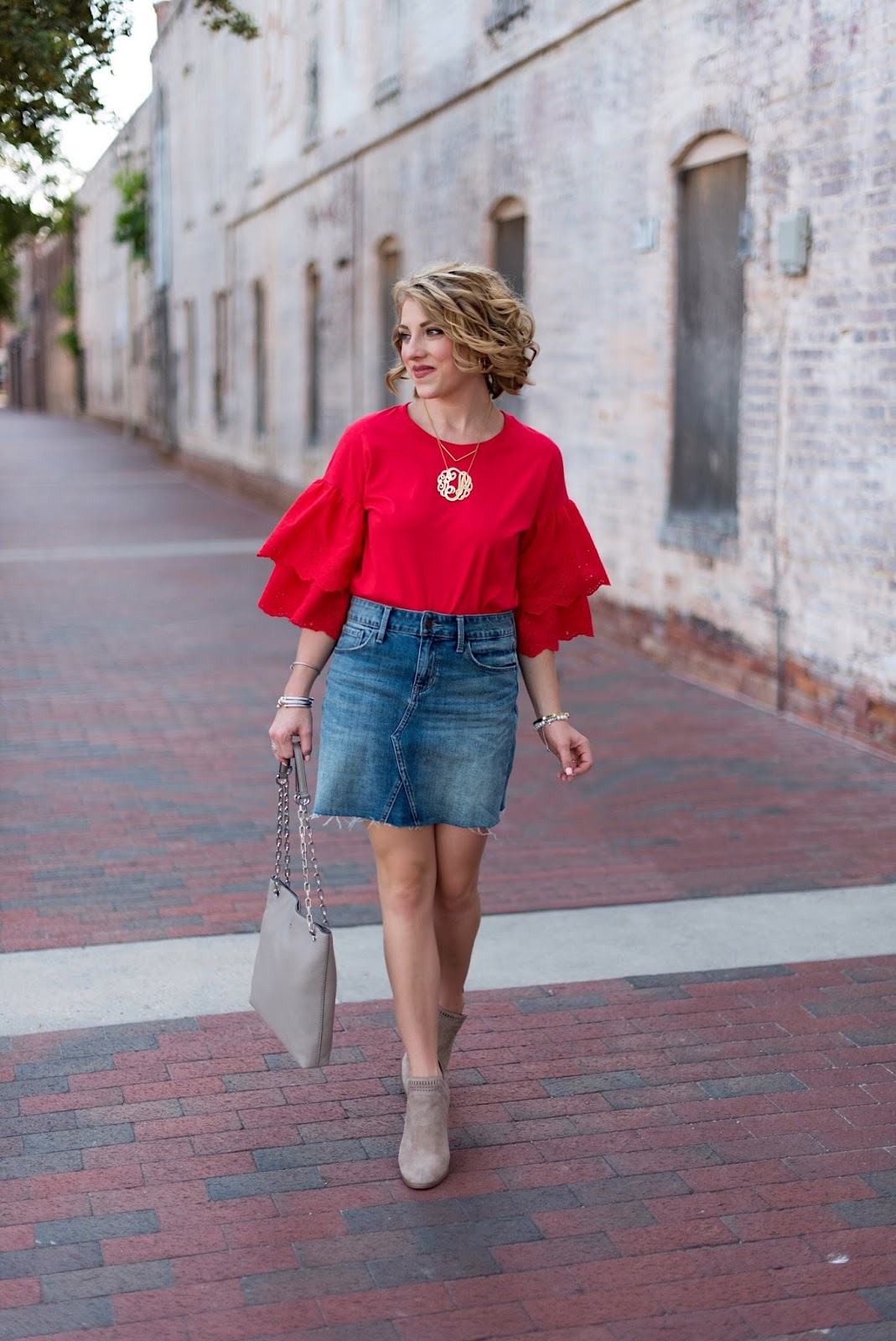 Eyelet Ruffle Sleeve T-Shirt - Click through to see more on Something Delightful Blog!