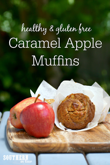Healthy Caramel Apple Muffins Recipe - gluten free, healthy, sugar free, low fat, dairy free, clean eating recipe, dessert, snack, easy, simple