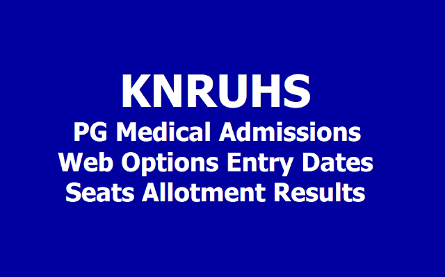 KNRUHS PG Medical Admissions Web Options Entry Dates, Seats Allotment Results 2019