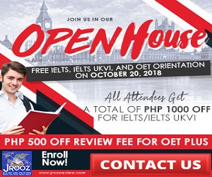 JROOZ IELTS/UKVI/OET One Day Promo  Join us on October 20, 2018   Free IELTS / IELTS UKVI / OET Orientation  IELTS: – 500 Off on Review Fee and Exam Fee A total of 1000 Off for IELTS/IELTS UKVI  OET: – 500 Off on Review Fee for OET plus – Receive free assistance in exam registration and – 50% Reimbursement Fee for OET exam coming from our Partner Recruitment Agencies (OFFER IS EXCLUSIVE TO JROOZ STUDENTS)
