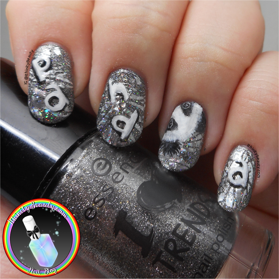 Freehand Gel & Holographic Foil Panda Nail Art | IthinityBeauty.com ...