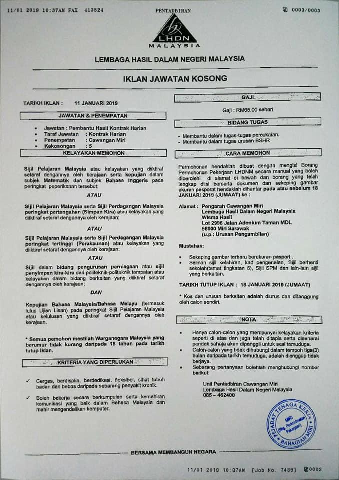 Jawatan Kosong Di Lembaga Hasil Dalam Negeri Lhdn Jobcari Com Jawatan Kosong Terkini