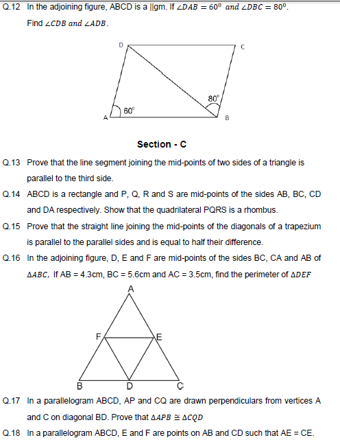 properties of Quadrilaterals ,diagonals,midpiont,mcq,ssc,scc,ctet,cgl,