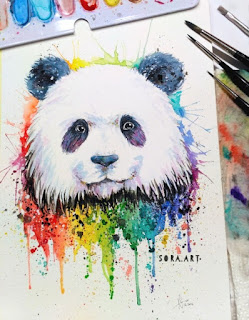rainbow panda drawing