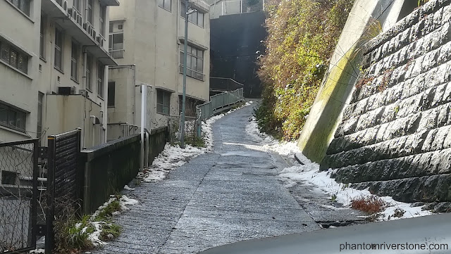 Actual location: This path runs between the residential area of Midorigaoka and Suwadai Shrine.