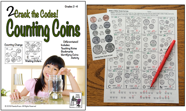 Money: Counting Change and Making Dollars with 2 Crack the Code puzzles for grades 2-4
