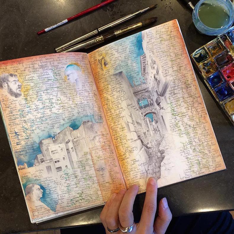 Dentro de los bien recorridos cuadernos de dibujo de la artista Dina Brodsky