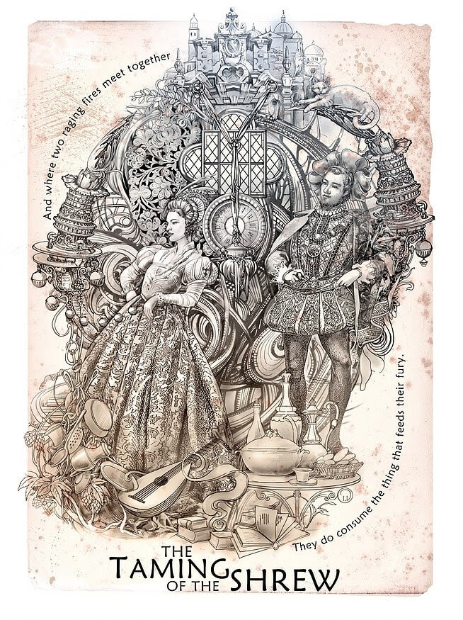 08-The-Taming-of-the-Shrew-Irina-Vinnik-Intricate-Drawings-for-a-Shakespeare-Calendar-www-designstack-co