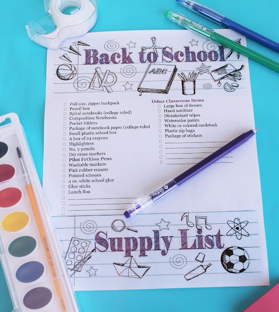 Printable Back to School Supply List Adult Coloring Page #shop #PowerToThePen #MyGo2Pen