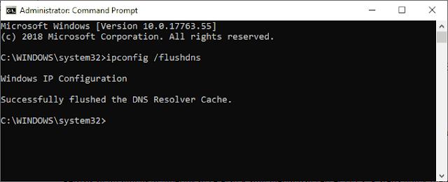 Hapus Cache DNS Windows