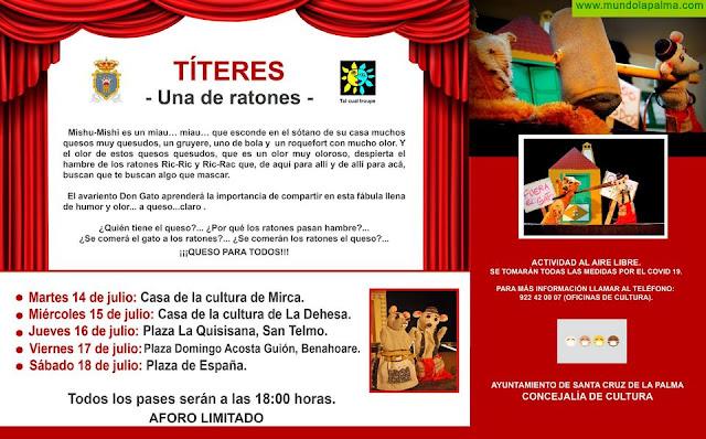 La Concejalía de Cultura organiza una representación de títeres con hasta cinco funciones en diferentes puntos de la capital