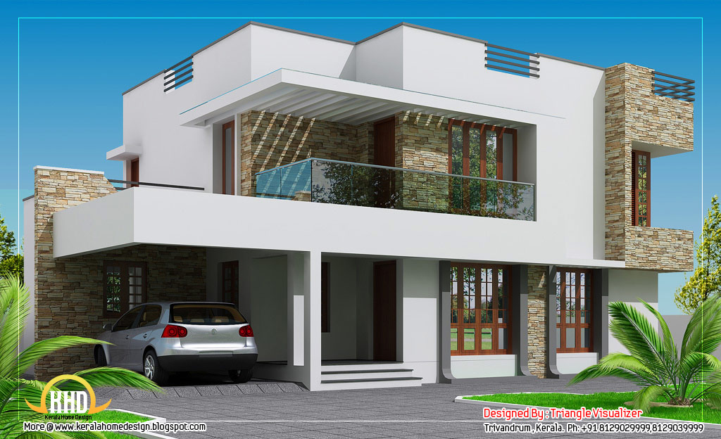 Two floor houses with 3rd floor serving as a roof deck for Modern 2 story house