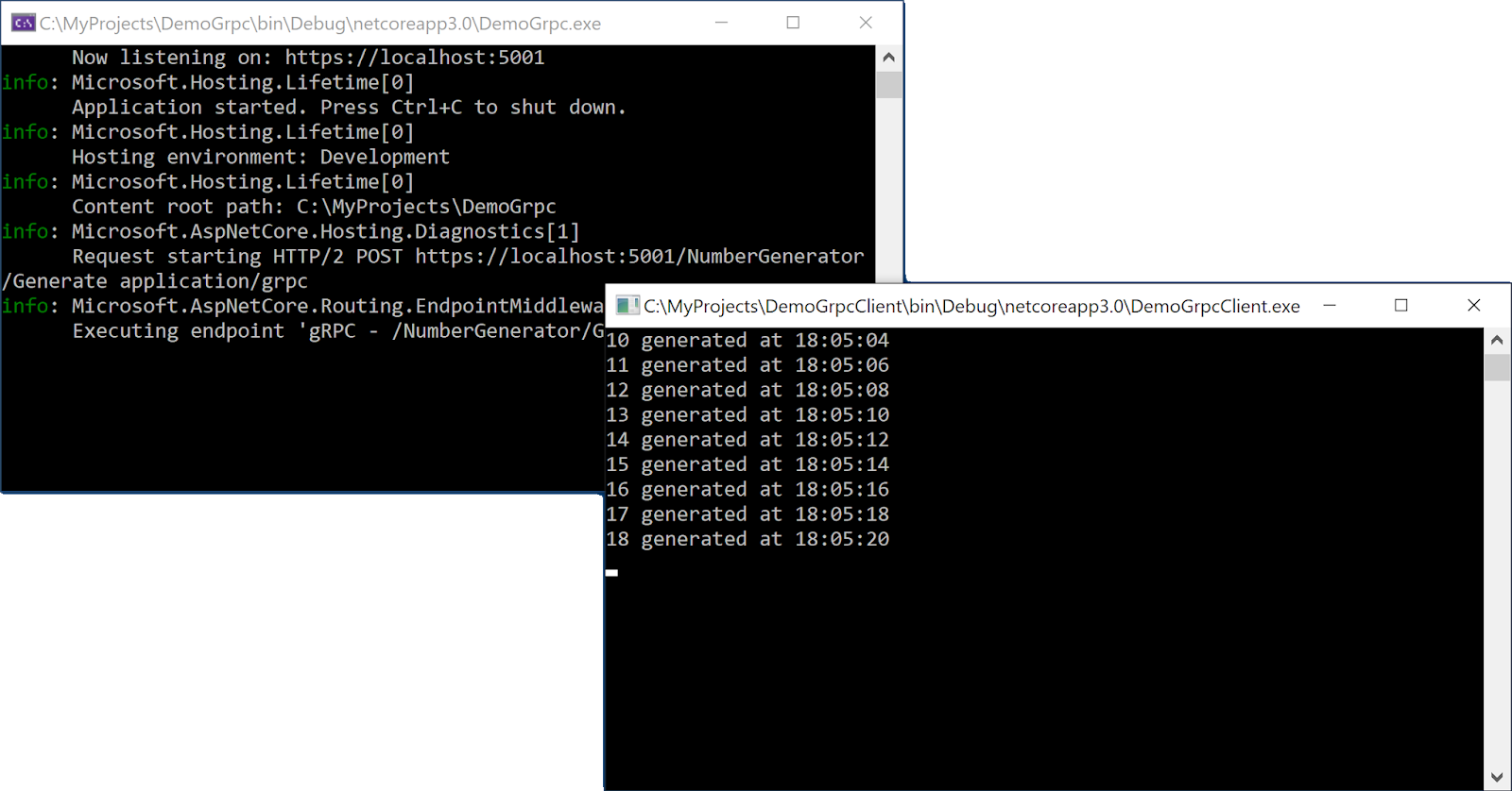 Cliente y servidor en ejecución