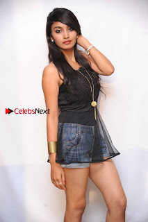 Shama Taj in Denim Shorts at Engineers Movie Press Meet