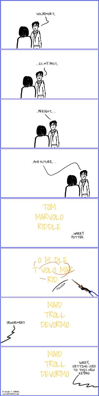 Tom Marvolo Riddle surprises Harry Potter with some letter play.