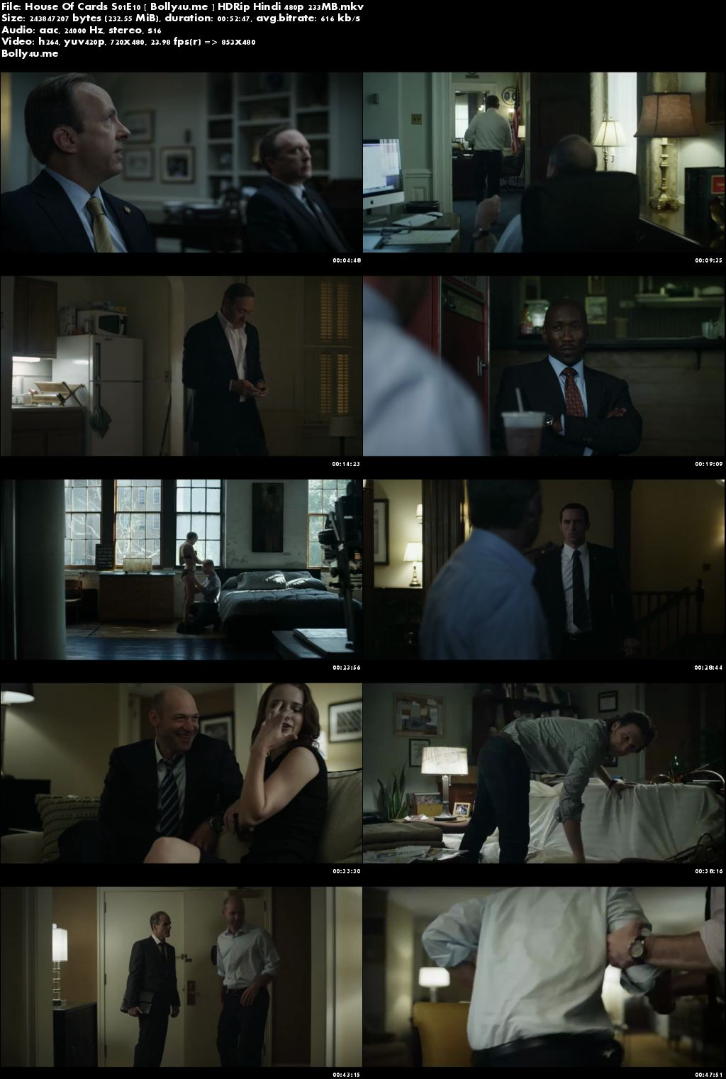 House Of Cards S01E10 HDRip 200MB Hindi Dubbed 480p Download