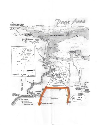 Page Area Map Showing Driving Route from Navajo Nation LeChee Chapter to Waterholes Trailhead