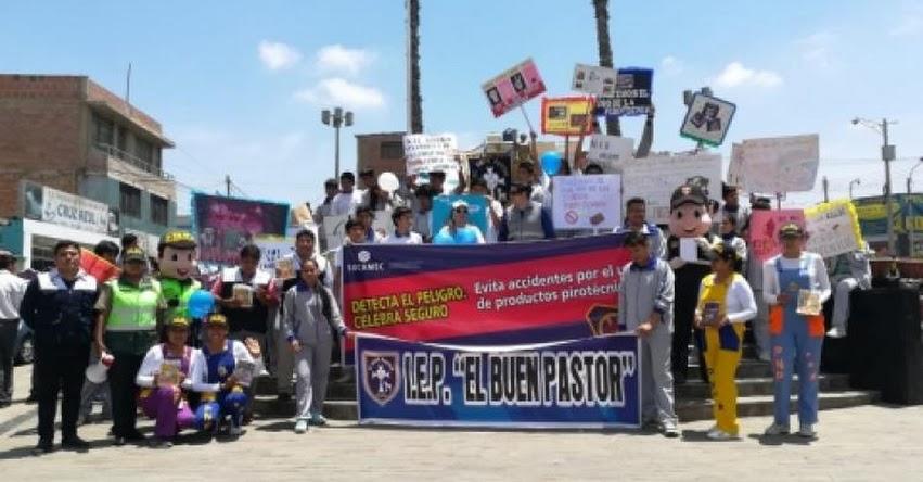 Escolares de Tacna marchan en contra del uso de pirotécnicos