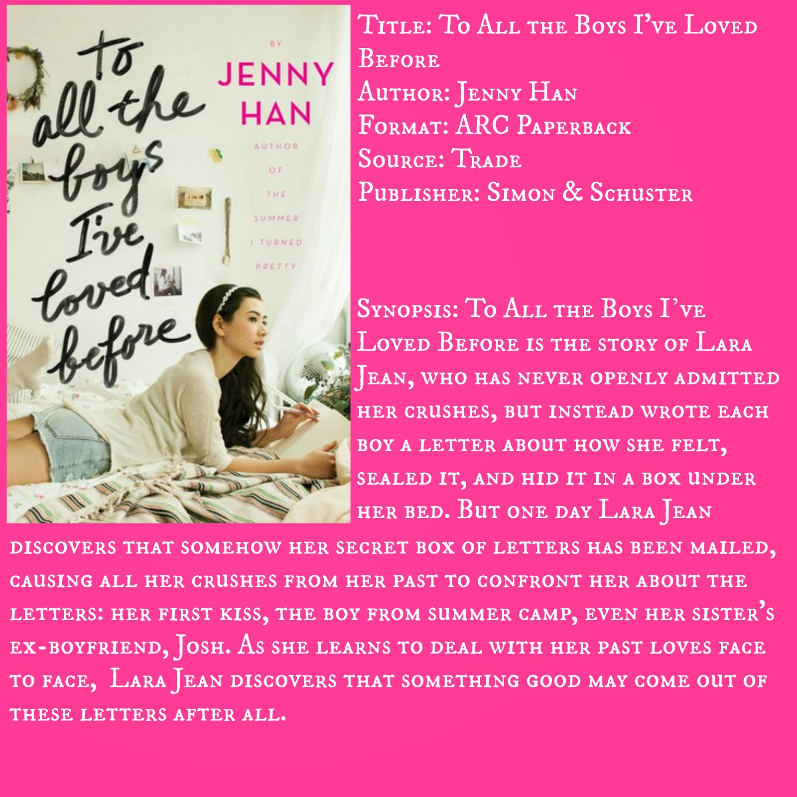 Hello Jenny Reviews: REVIEW: To All the Boys I've Loved Before by Jenny Han