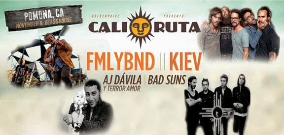 Cali-Ruta TONIGHT- November 9th- FMLYBND, KIEV- AJ Davila, BAD SUNS - Worst Vodka fueled Venue Poster American Pancake has ever made for A GREAT SHOW
