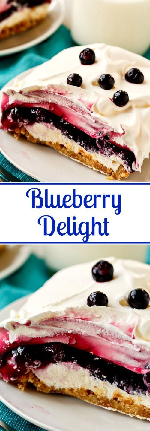 The Best Creamy Blueberry Delight is creamy and delicious with 4 awesome layers. Perfect for potlucks and picnics and it is a breeze to put together. #bestrecipe #dessert #blueberry #delight #blueberrydelight #creamy #dessertrecipe #easydessert
