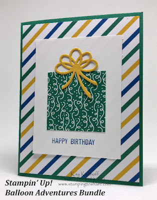 A birthday card with the Balloon Adventure Bundle created by Kay Kalthoff, Stamping to Share.